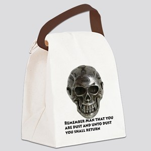 Silver_Skull_Memento_Mori_10by10_ Canvas Lunch Bag
