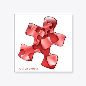 """puzzle-v2-red-onblk2 Square Sticker 3"""" x 3"""""""