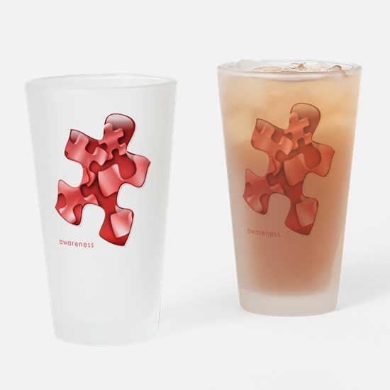 puzzle-v2-red-onblk2 Drinking Glass