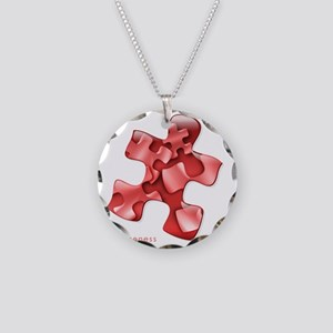 puzzle-v2-red-onblk2 Necklace Circle Charm