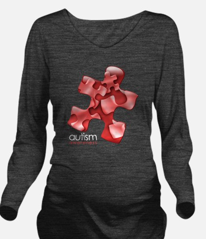 puzzle-v2-red-onblk2 Long Sleeve Maternity T-Shirt