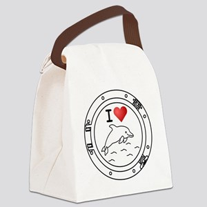 Iheart-dolphin Canvas Lunch Bag