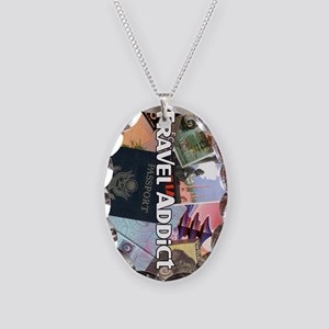 TravelAddictPoster Necklace Oval Charm