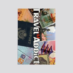 TravelAddictPoster Rectangle Magnet