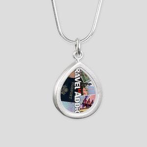 TravelAddictPoster Silver Teardrop Necklace