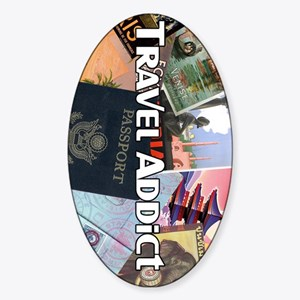 TravelAddictPoster Sticker (Oval)