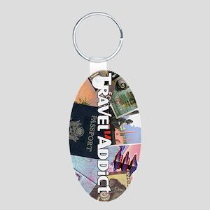 TravelAddictPoster Aluminum Oval Keychain