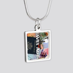 TravelAddictPoster Silver Square Necklace