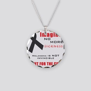 Melanoma not Invincible Tee Necklace Circle Charm