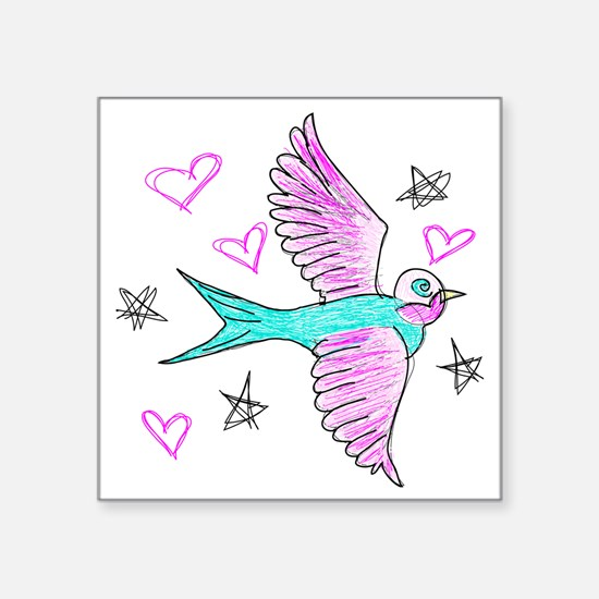"""Sketchy Swallow Square Sticker 3"""" x 3"""""""
