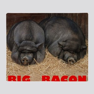 Pot_Bellied_Pigs_Big_Bacon_10by10 Throw Blanket