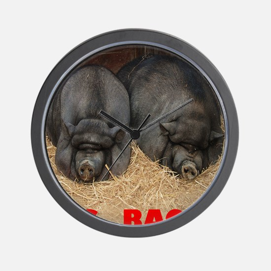 Pot_Bellied_Pigs_Big_Bacon_12by14 Wall Clock