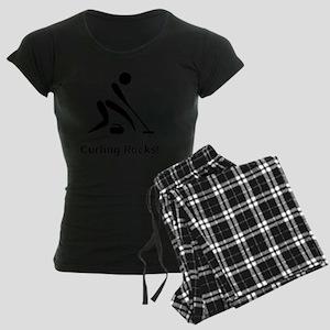 Curling Rocks Black Women's Dark Pajamas