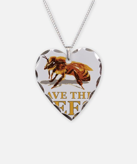 Save The Bees Necklace Heart Charm