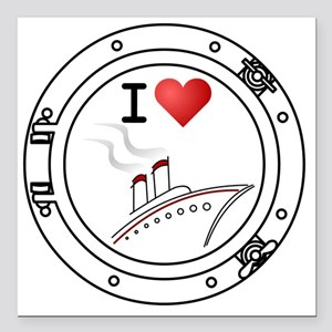 "IHeartCruiseShips2 Square Car Magnet 3"" x 3"""