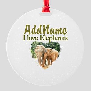 ELEPHANT LOVE Round Ornament