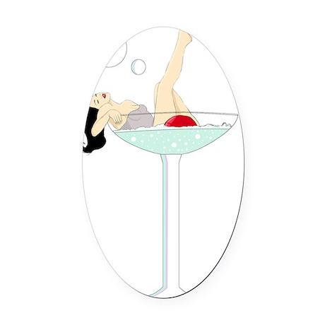 burlesque martini Oval Car Magnet