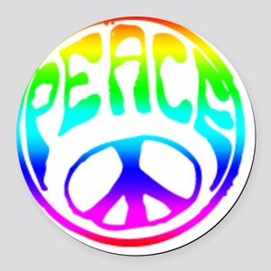 Tye-dye-Peace-Logo Round Car Magnet