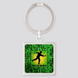 mar11_green_disc_golf Square Keychain