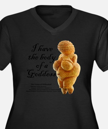BodyGoddessL Women's Plus Size Dark V-Neck T-Shirt