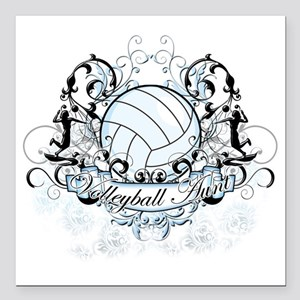 "Volleyball Aunt Square Car Magnet 3"" x 3"""
