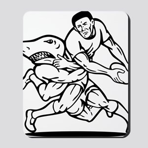rugby player passing ball tackled by sha Mousepad