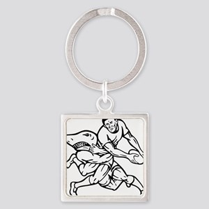 rugby player passing ball tackled  Square Keychain