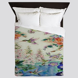 HUMMINGBIRDS_PAINTING_CANVAS_10BY10 Queen Duvet