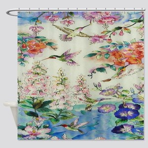 HUMMINGBIRDS_PAINTING_CANVAS_12BY14 Shower Curtain