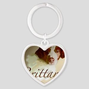Brittany Background Heart Keychain