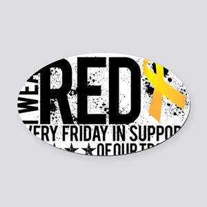 Red4OurTroops Oval Car Magnet