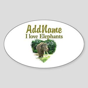 LOVE ELEPHANTS Sticker (Oval)