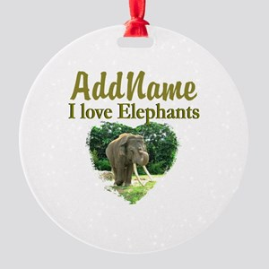 LOVE ELEPHANTS Round Ornament