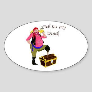 Pirate Lick Me Peg Oval Sticker