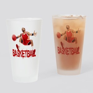 basketball_dribble_red Drinking Glass