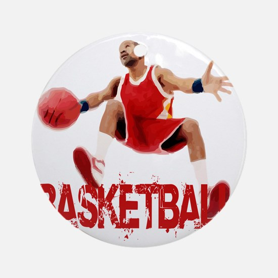 basketball_dribble_red Round Ornament