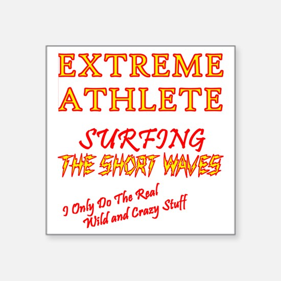 "SURFING SHORT-WAVES Red Square Sticker 3"" x 3"""