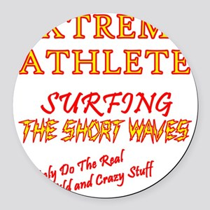 SURFING SHORT-WAVES Red Round Car Magnet