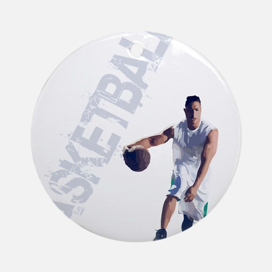 basketball_dribble_wht (2) Round Ornament
