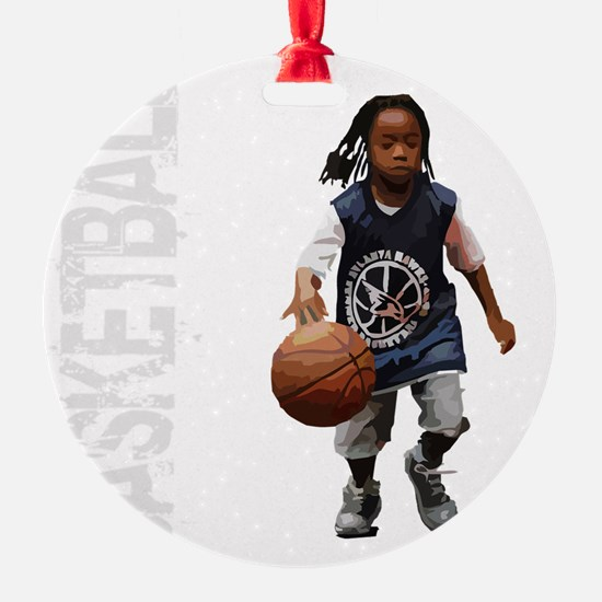 basketball_kid_dribble_1wht Ornament