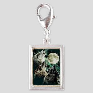 88503wolfmoo311n Silver Portrait Charm
