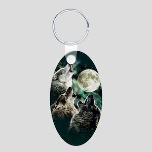 88503wolfmoo311n Aluminum Oval Keychain