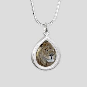 lion-portrait-t-shirt Silver Teardrop Necklace