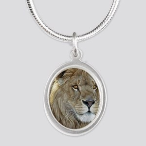 lion-portrait-t-shirt Silver Oval Necklace