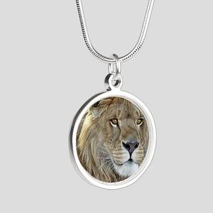 lion-portrait-t-shirt Silver Round Necklace