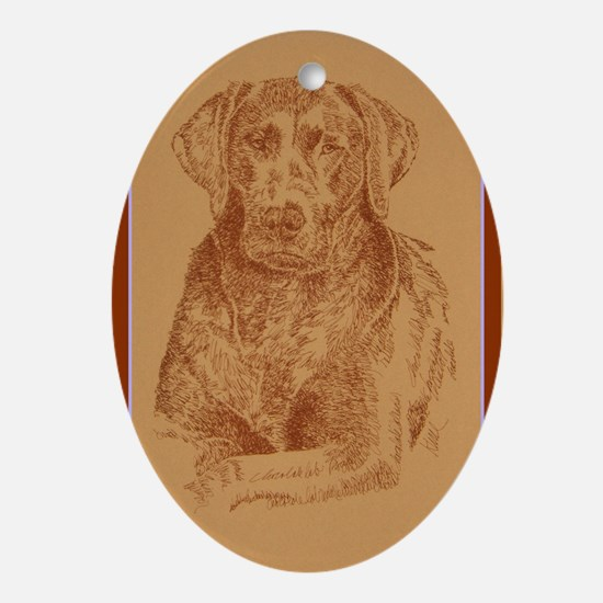 Chocolate_Labrador_KlineX Oval Ornament