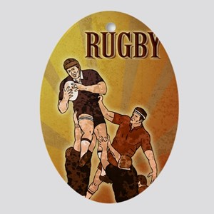 rugby player cathing lineout ball Oval Ornament