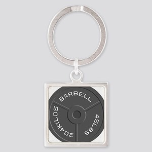 Clock Barbell45lb Square Keychain