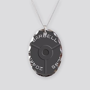 Clock Barbell45lb Necklace Oval Charm