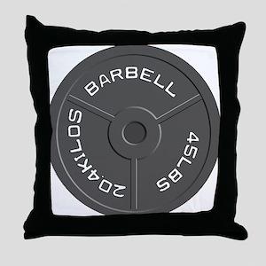 Clock Barbell45lb Throw Pillow